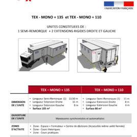 TYPE TEX-MONO + 135 et TEX-MONO + 110 unité mobile de formation professionnelle